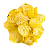 Handful of yellow potato chips — Stock Photo