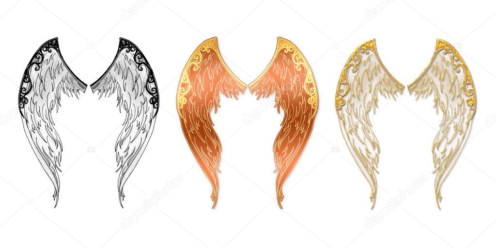 Angel wings located on a white background in three variants — Stock Photo #1066689