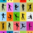 Stock Photo: It is lot of silhouettes of on colour background