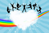 Silhouettes of the jumping on a heart in the sky — Stock Photo
