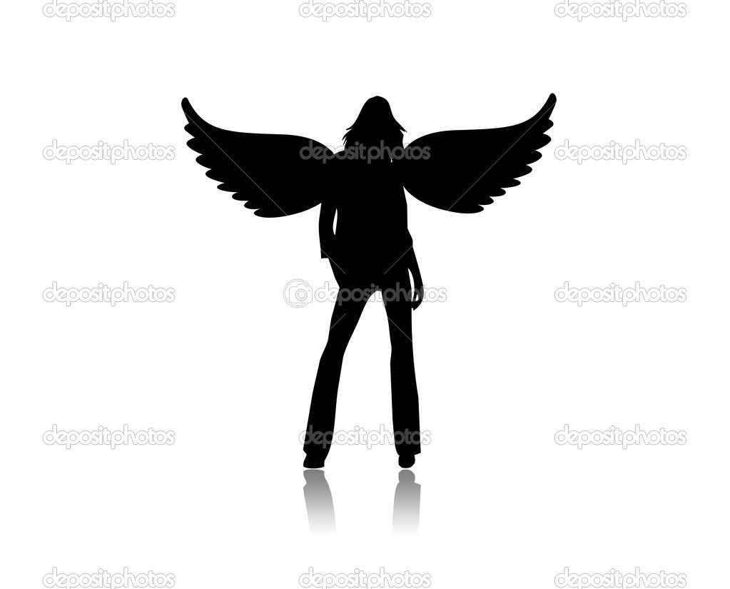 Illustration of a black angel on a white background — Stock Photo #1896035