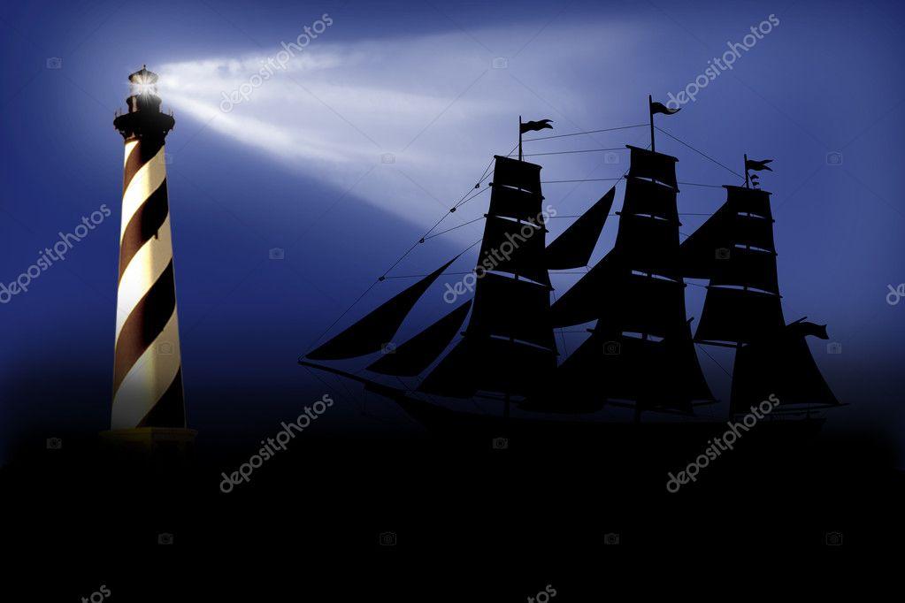 黑色背景灯塔手绘
