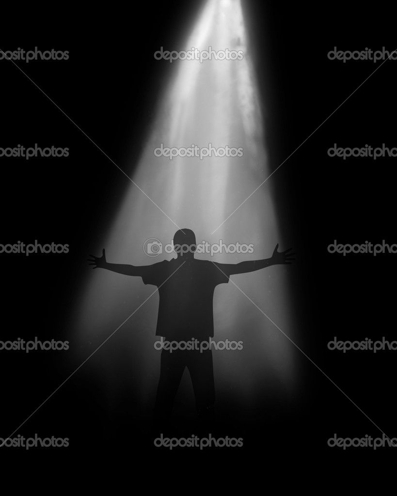 Soul of the person on a black background under light — Stock Photo #2016699