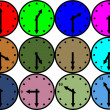 colored clocks — Stock Photo