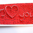 Handmade greeting card - I love you - Stock Photo