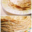 Two Russian pancakes - blinis — Stock Photo