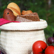 Royalty-Free Stock Photo: A basket with bread at a picnic