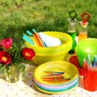 Royalty-Free Stock Photo: Bright color summer picnic plastic acces
