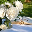 A bouquet of white peony flowers — Stock Photo