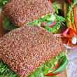 Two healthy rye bread sandwiches on wo — Stock Photo #1033212