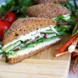 Healthy rye bread cutted sandwich with r — Stock Photo