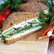 Healthy rye bread cutted sandwich with r — Stock Photo #1033227