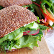 Stock Photo: Healthy rye bread sandwich with radish a
