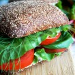 Stock Photo: Healthy rye bread sandwich with tomatoes