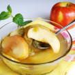Apple and rhubarb fruit compote — Stock Photo