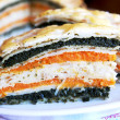 Sandwiched pancakes-vegetable pie with c - Stock Photo