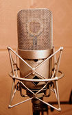 Microphone in a sound enclosure booth — Stock Photo