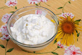 Fresh grainy cottage cheese — Foto Stock