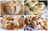 Homemade golden pastry collage — Stock Photo