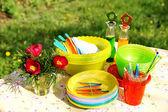 Bright color summer picnic plastic acces — Stock Photo