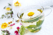 Camomile-mint herbal tea — Stock Photo