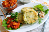 Potato and greens cakes with two sauces — Stock Photo