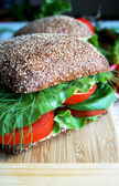 Healthy rye bread sandwich with tomatoes — Stock Photo