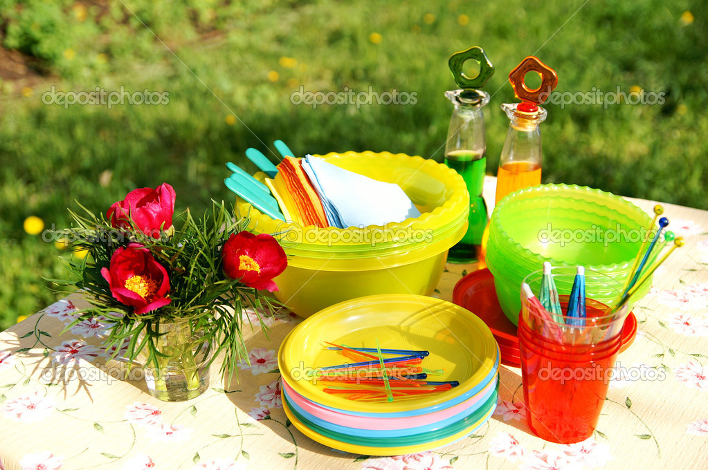 Bright color summer picnic plastic acces — Stock Photo © Tatiana ...