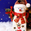 New Year card with snowman-candlestick — Stock Photo #1192426