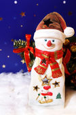 New Year card with snowman-candlestick — Stock Photo