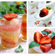 Strawberry desserts collage — Stock Photo