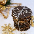 Christmas homemade chocolate cookies — Stock Photo