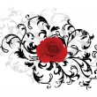 Vector de stock : Black floral background with red