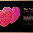 Stock vektor: Romantic Card with Two Hearts