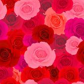 красный & розовые розы бесшовный фон — Cтоковый вектор