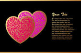 Tarjeta romántica con dos corazones — Vector de stock