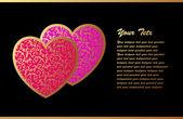 两颗心与浪漫卡 — 图库矢量图片
