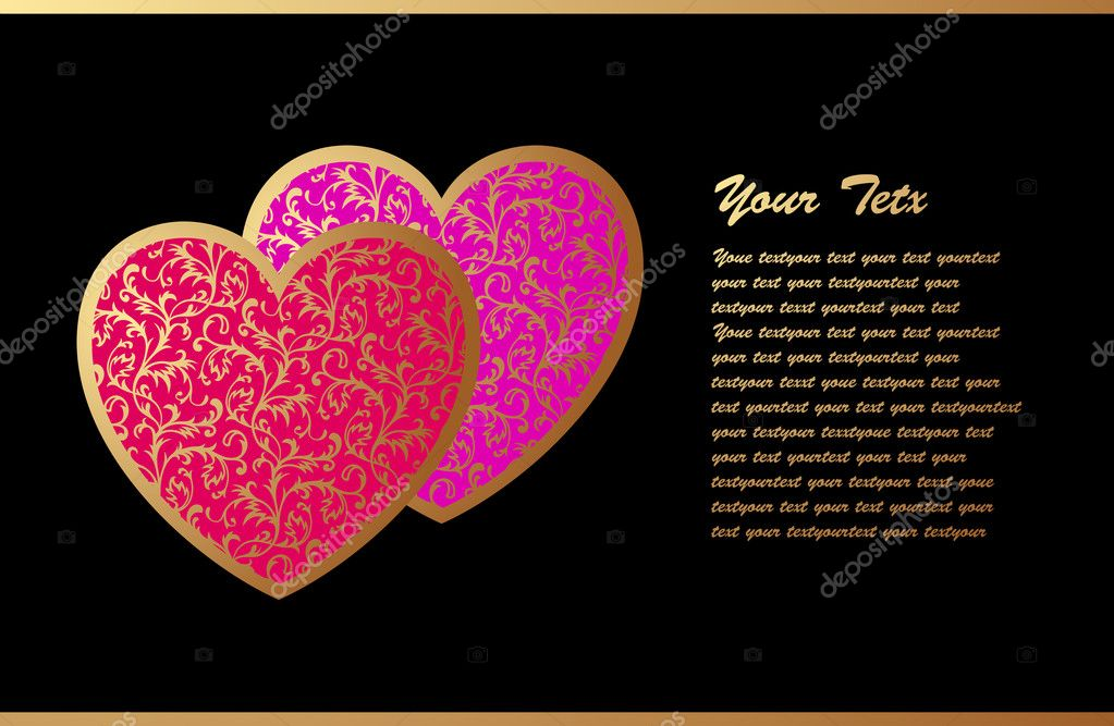 Romantic Card with Two Hearts — Stock Vector #1026891