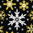 Seamless Ornament with Snowflake - Stock Vector