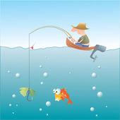 Balık tutma — Stok Vektör