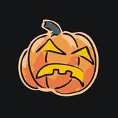 Angry Pumpkin Isolated On Black — Vecteur