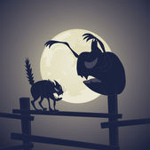 Black Cat vs Dark Pumpkin — Vector de stock