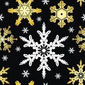 Sömlös prydnad med snöflinga — Stockvektor