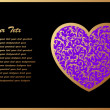 Romantic Card With Violet Heart - 图库矢量图片
