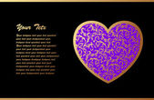 Romantic Card With Violet Heart — Cтоковый вектор