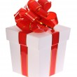 White gift box and red bow. — Stock Photo #1026523
