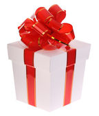 White gift box and red bow. — Foto de Stock