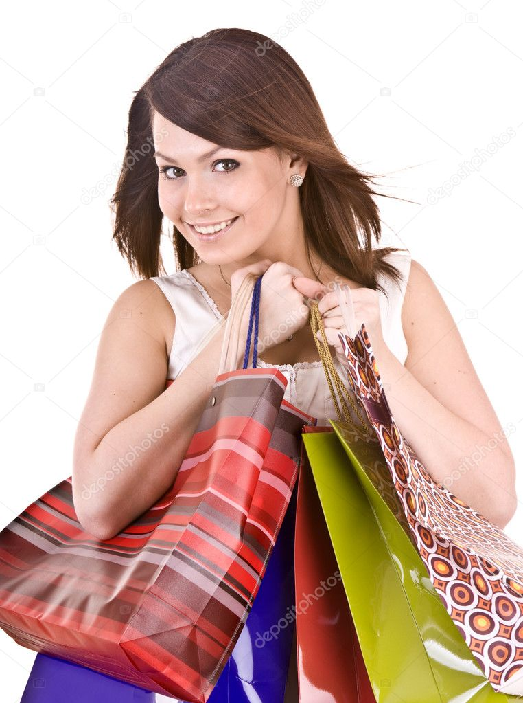 Young girl with gift bag. Isolated. — Stock Photo #1026787