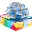 Gift box and blue bow. — Stock Photo
