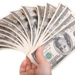 Money in female hands. — Stock Photo